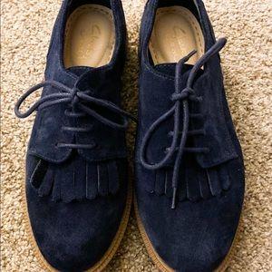 NWOT- Clark's blue suede women's loafers size 7
